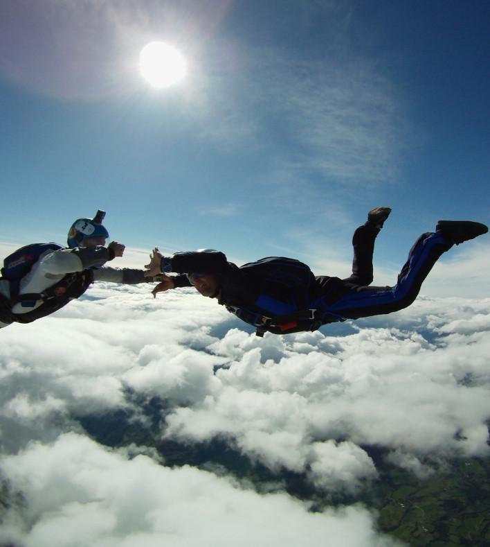 juste avant l'ouverture du parachute